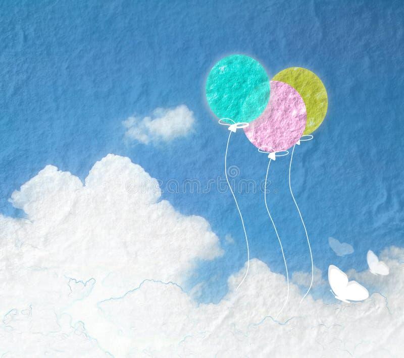 Imagem do Grunge do céu azul com nuvens e colorido Ballo colorido ilustração do vetor