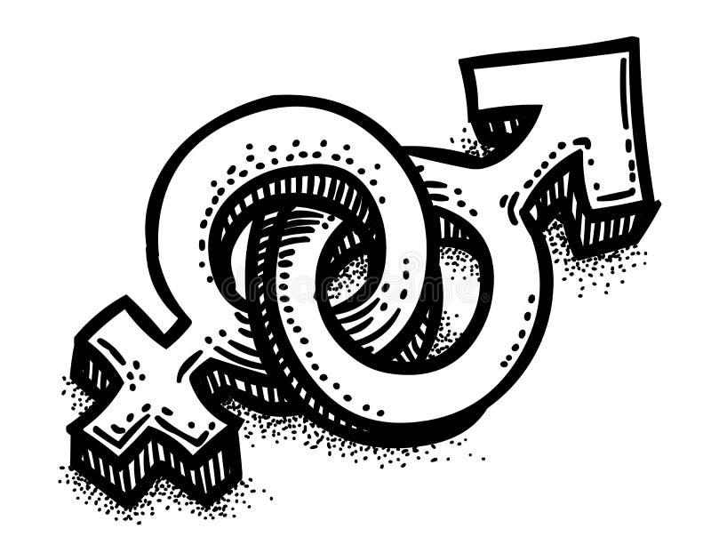 Imagem do homem, símbolo dos desenhos animados de sexo fêmea gender ilustração do vetor