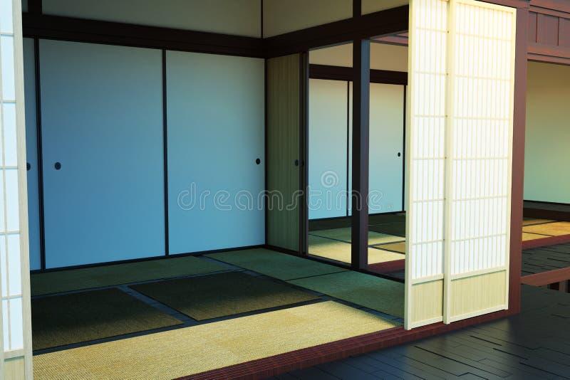 A imagem do interior de salas vazias na construção no estilo japonês ilustração stock