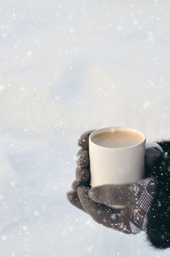 Imagem do inverno: mãos nas luvas cinzentas feitas malha que guardam um copo do café quente em um dia nevado em um fundo rústico  imagens de stock