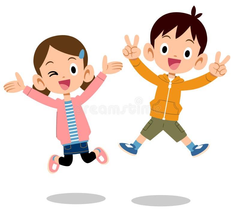 A imagem do irmãos das crianças a saltar ilustração royalty free