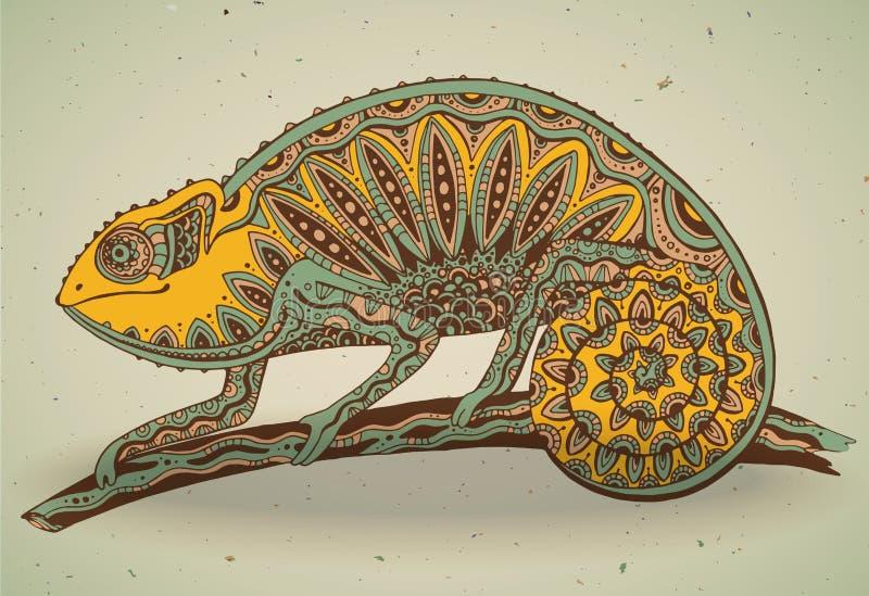 Imagem do lagarto colorido do camaleão no estilo gráfico ilustração stock
