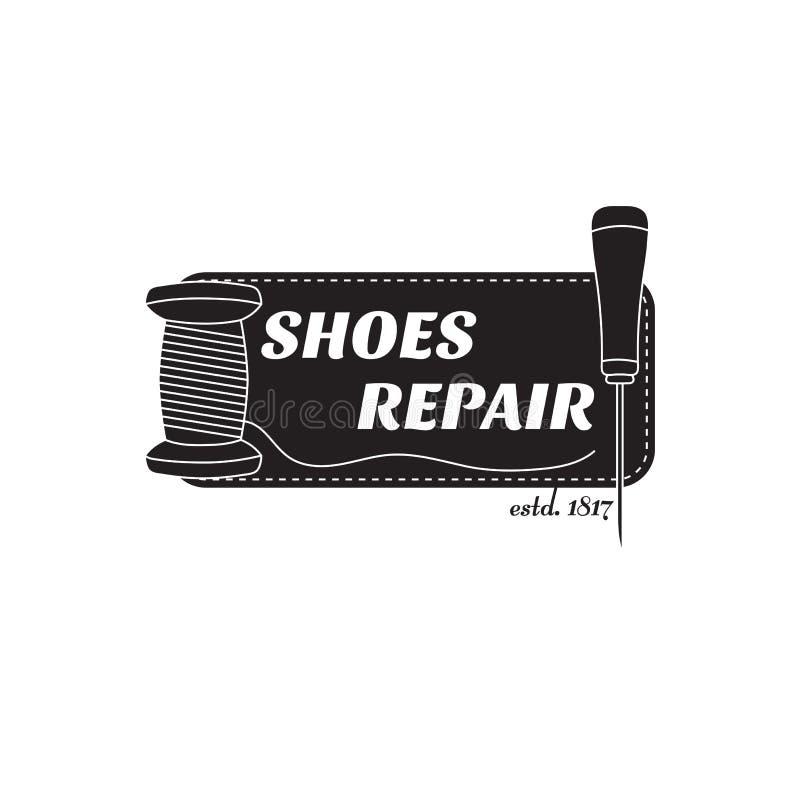 imagem do logotipo de serviços de reparações da sapata Conceito para o reparo da oficina ilustração stock