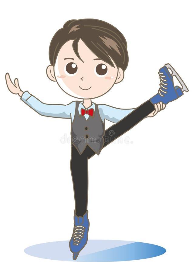 Imagem do menino da patinagem artística - pose bonito ilustração do vetor