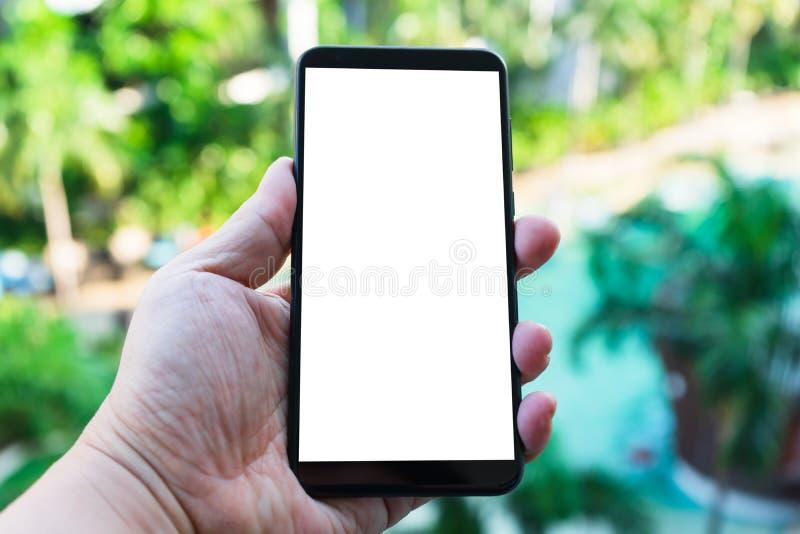 Imagem do modelo da mão que guarda o telefone celular preto novo com a tela vazia com fundo verde do bokeh da natureza foto de stock