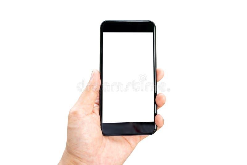 Imagem do modelo da m?o da mulher que guarda smartphones m?veis a tela branca isolada para o projeto e o outro do modelo fundo de imagens de stock