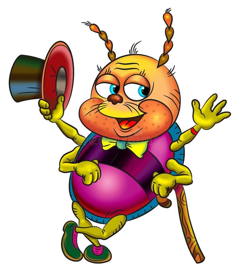 Imagem do personagem de banda desenhada engraçado, besouro do mágico fotografia de stock