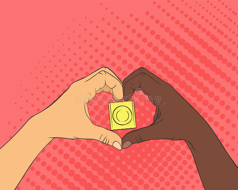 Imagem do pop art das mãos na forma do coração condom ilustração royalty free