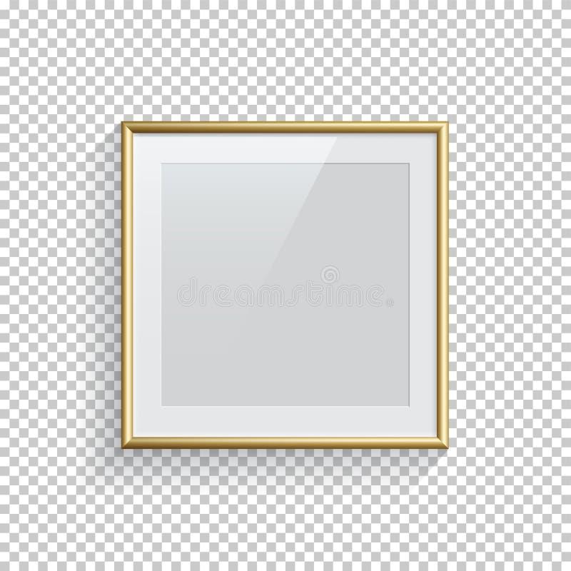 Imagem do quadrado ou quadro dourado da foto isolado no fundo transparente Elemento do projeto do vetor ilustração do vetor