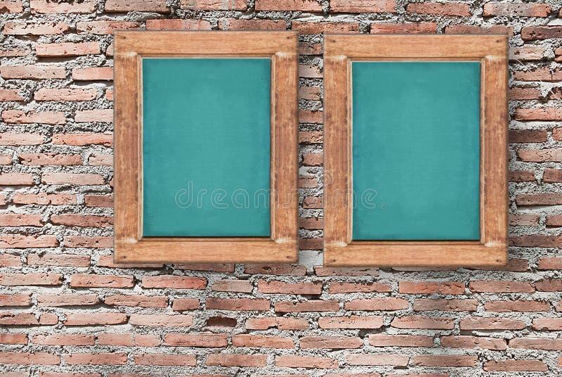 Imagem do quadro na textura da parede de tijolo, fundo para o projeto fotos de stock