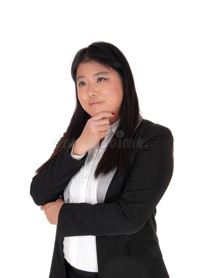 Imagem do retrato de uma mulher chinesa que pensa duramente fotos de stock royalty free