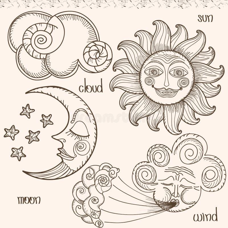 Imagem do sol, da lua, do vento e das nuvens ilustração do vetor