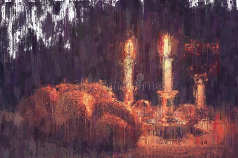 imagem do sumário do estilo da pintura a óleo do shabbat pão do Chalá, vinho do shabbat e velas ilustração royalty free