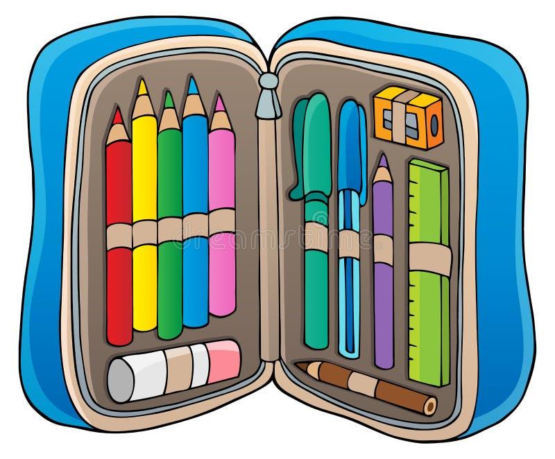 Imagem 1 do tema da caixa de lápis ilustração stock