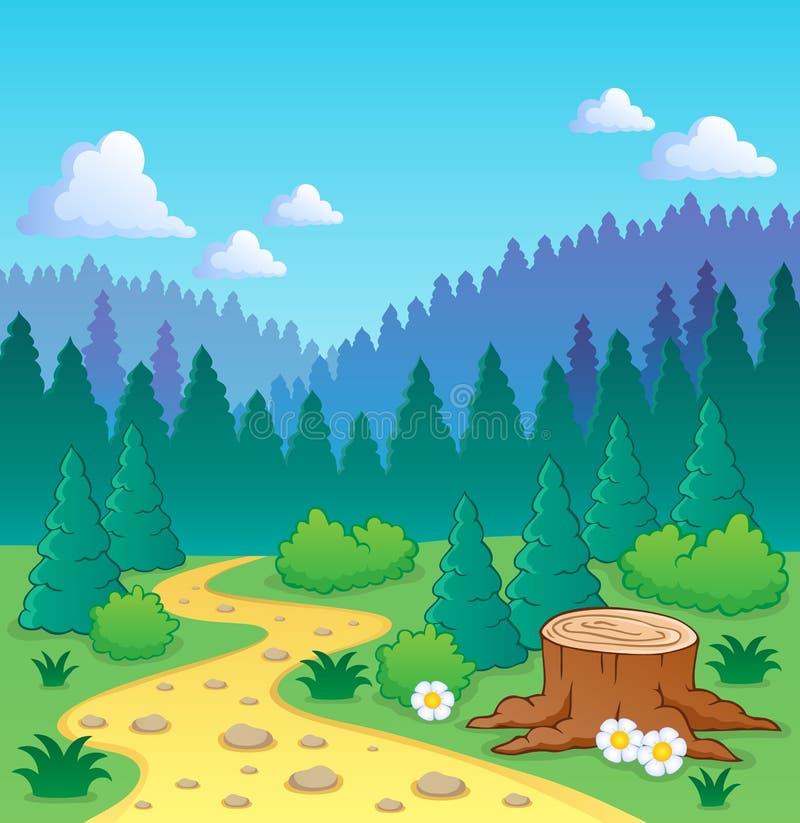 Imagem 2 do tema da floresta ilustração do vetor