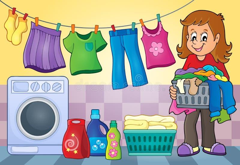 Imagem 4 do tema da lavanderia ilustração do vetor