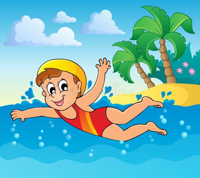 Imagem 2 do tema da natação ilustração royalty free