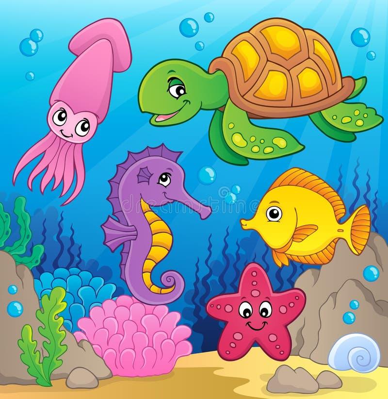 Imagem 1 do tema da vida marinha ilustração do vetor