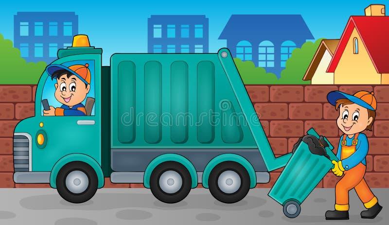 Imagem 3 do tema do coletor de lixo ilustração do vetor
