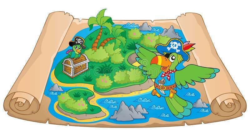 Imagem 6 do tema do mapa do tesouro ilustração stock