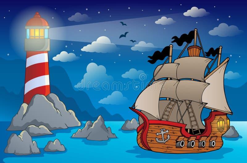 Imagem 6 do tema do navio de pirata ilustração royalty free