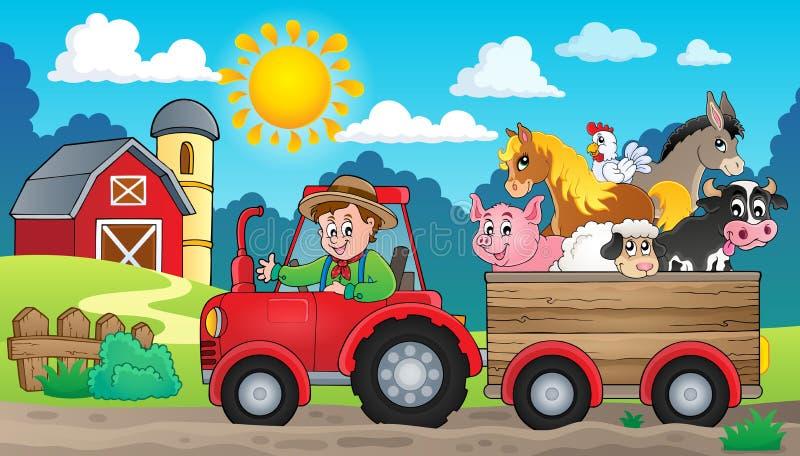 Imagem 3 do tema do trator ilustração stock