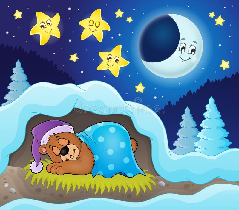 Imagem 3 do tema do urso do sono ilustração royalty free