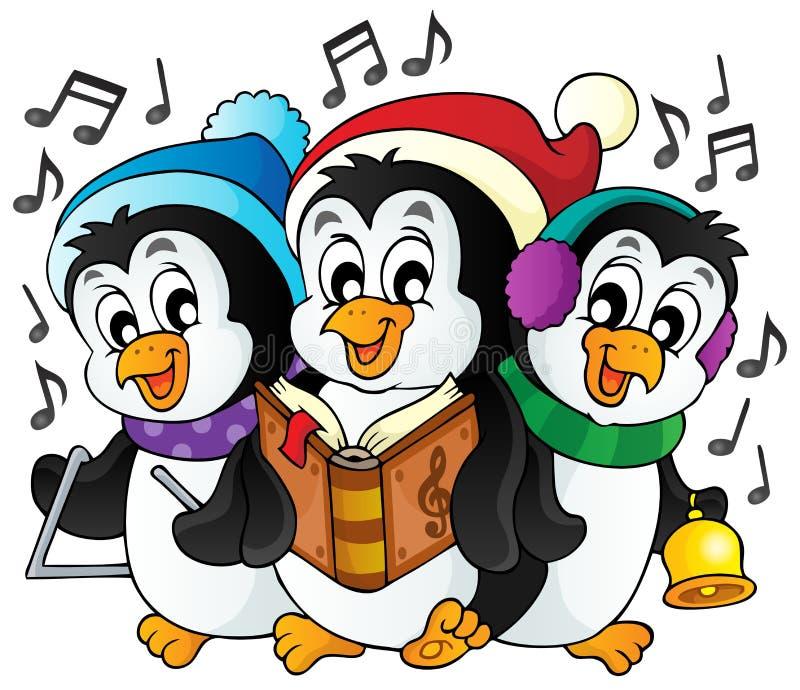 Imagem 1 do tema dos pinguins do Natal ilustração stock