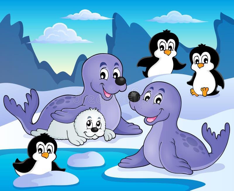 Imagem 1 do tema dos selos e dos pinguins ilustração do vetor