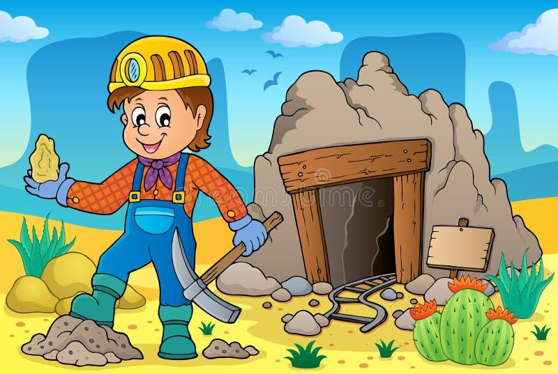 Imagem 2 do tema do mineiro ilustração stock