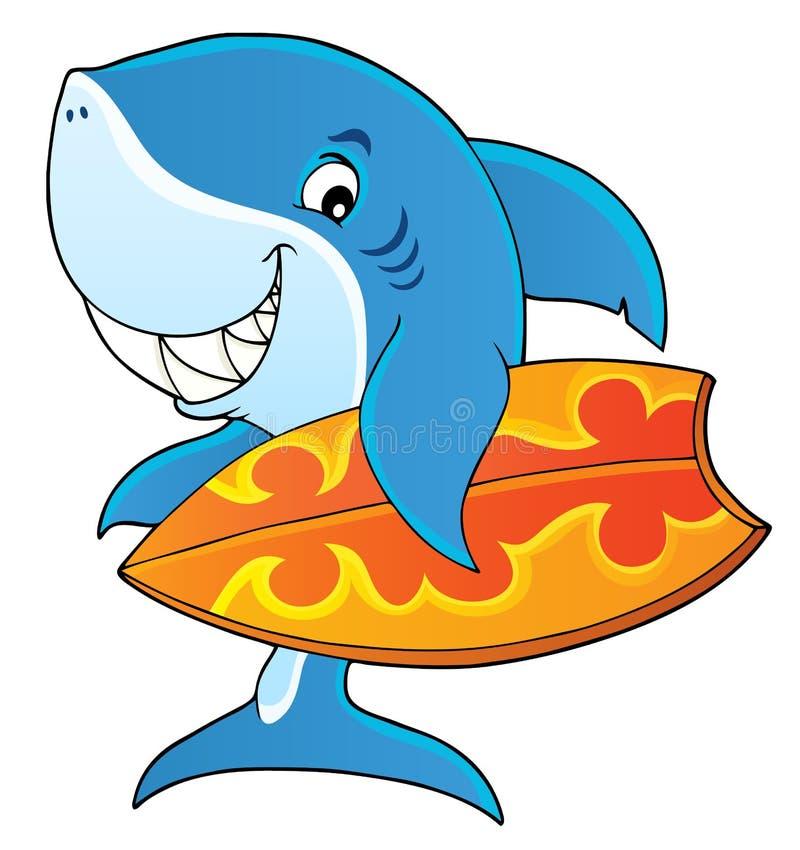 Imagem 1 do tema do tubarão do surfista ilustração stock