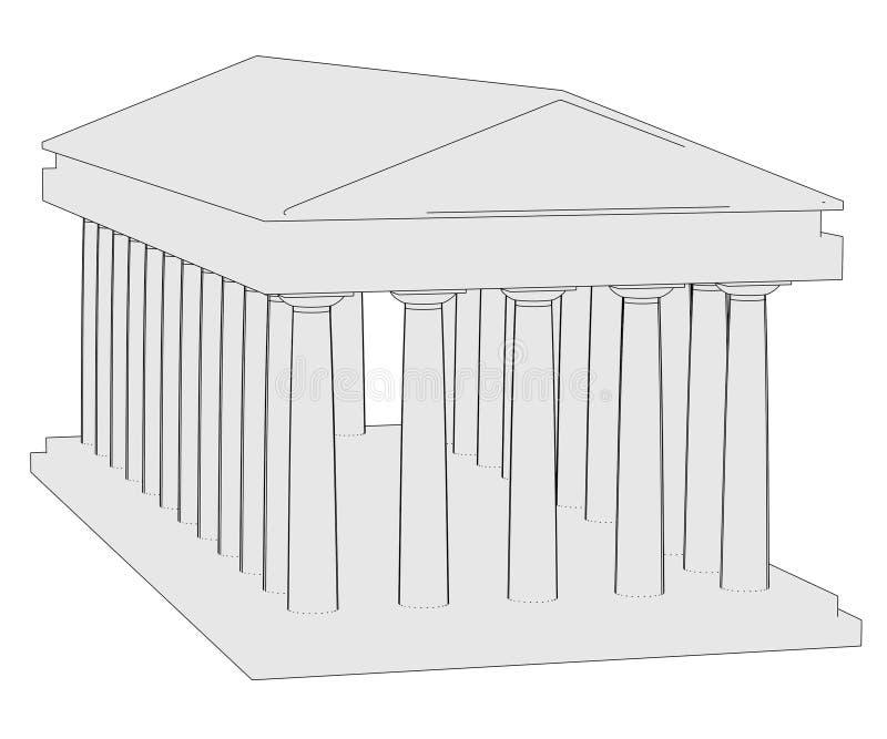Imagem do templo doric ilustração do vetor