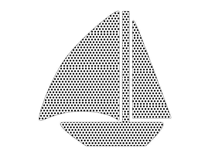Imagem do teste padrão pontilhado de um barco de navigação ilustração stock