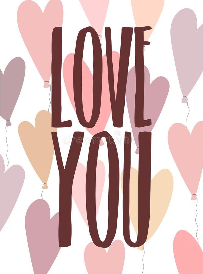 Imagem do vetor do amor da inscrição você no fundo dos ballons na forma do coração Ilustração para o dia de Valentim, amante ilustração royalty free