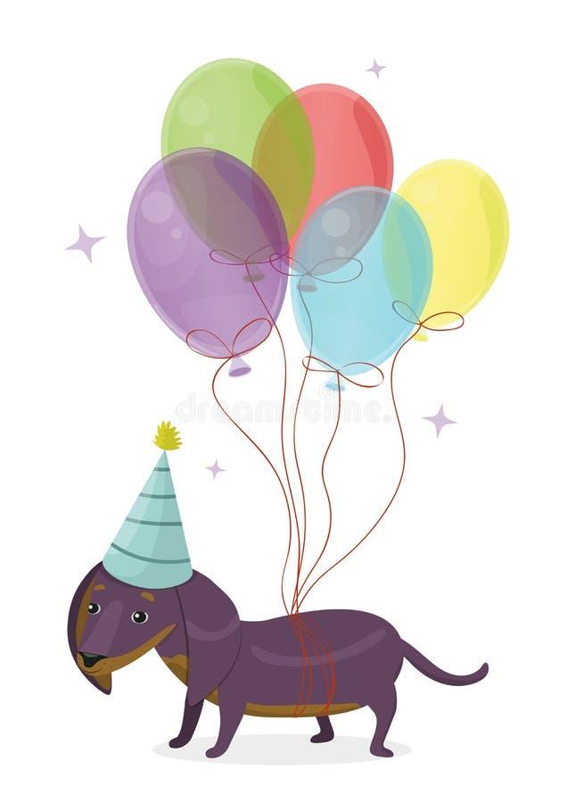 Imagem do vetor do bassê do cão dos desenhos animados do cartão do feliz aniversario ilustração do vetor