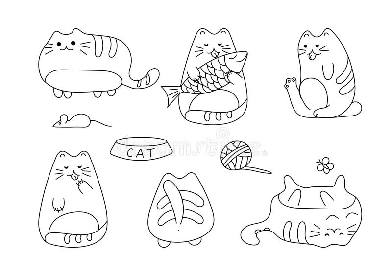 Imagem do vetor com mão engraçada os gatos tirados Ilustração do vetor dos animais com vaquinhas brancas adoráveis ilustração stock