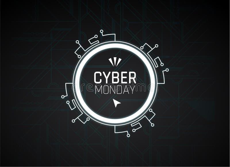 Imagem do vetor da venda de segunda-feira do Cyber, ilustração do vetor da venda de segunda-feira do Cyber ilustração stock