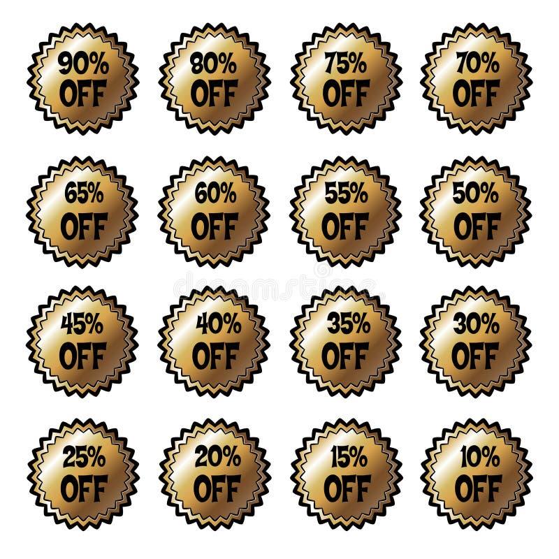 Imagem do vetor da venda isolada que rotula 10%, 20%, 30%, 50%, 70%, 90% ilustração do vetor