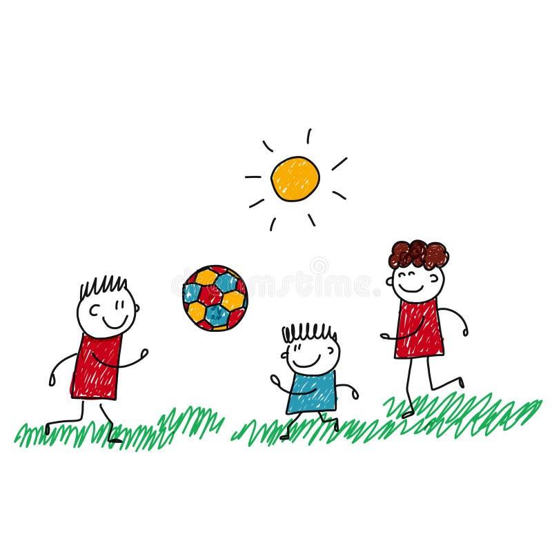 Imagem do vetor das crianças felizes que jogam o futebol ilustração royalty free