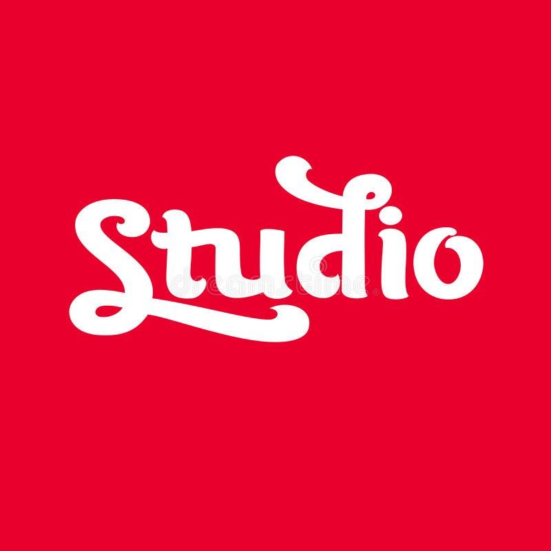 Imagem do vetor de Logo Studio, no fundo vermelho ilustração do vetor