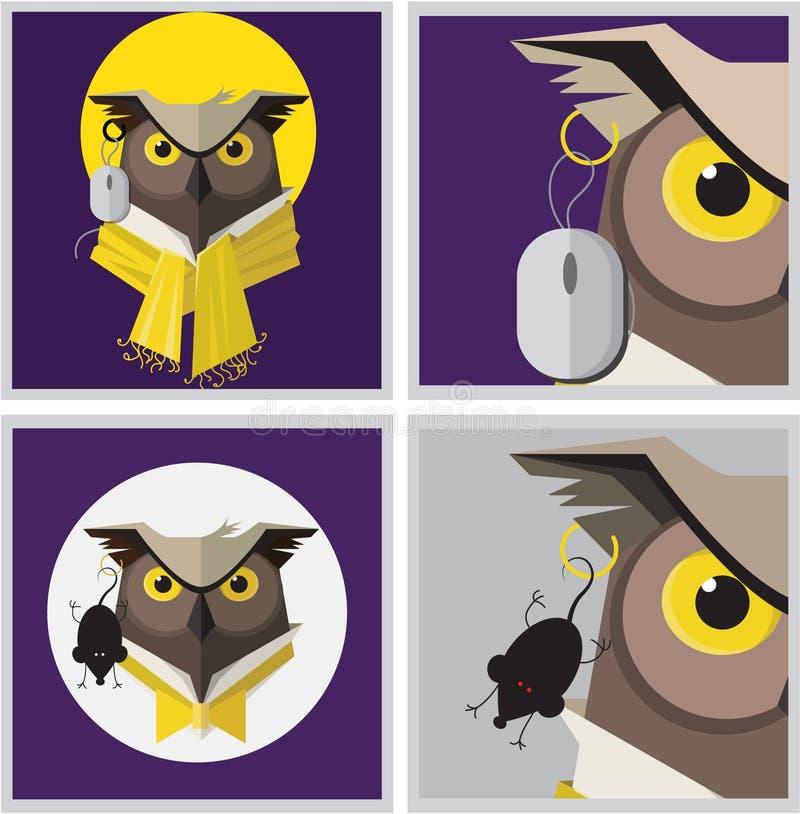 Imagem do vetor de um brinco da coruja de águia ilustração royalty free