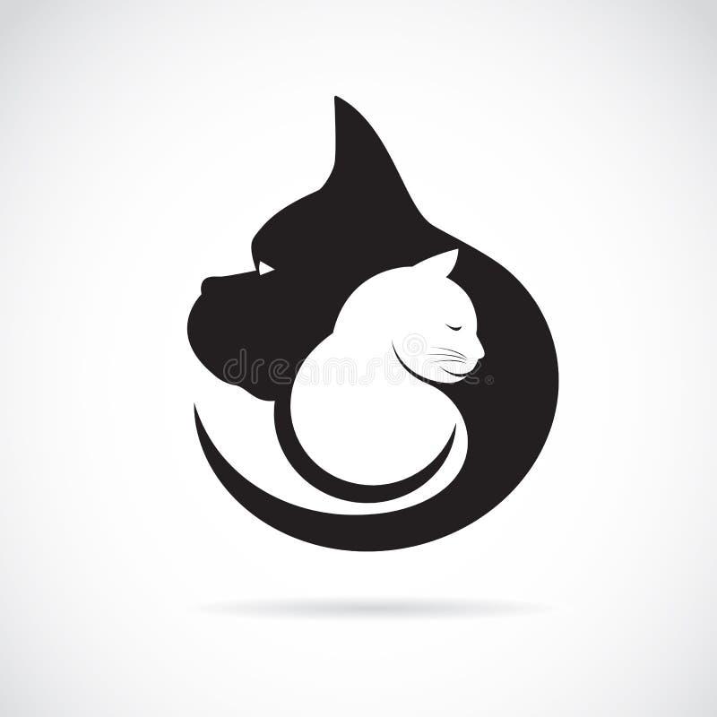 Imagem do vetor de um cão e gato ilustração royalty free