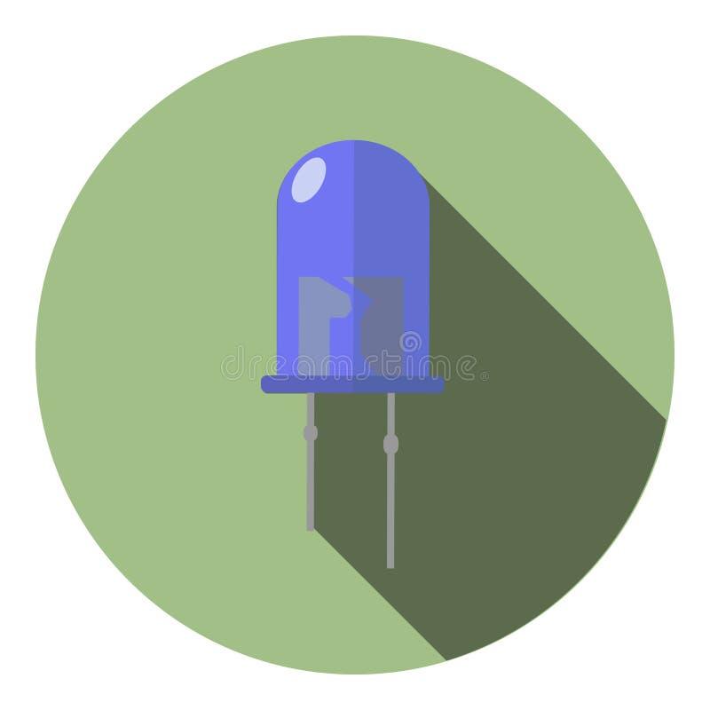 Imagem do vetor de um diodo luminescente azul ilustração stock