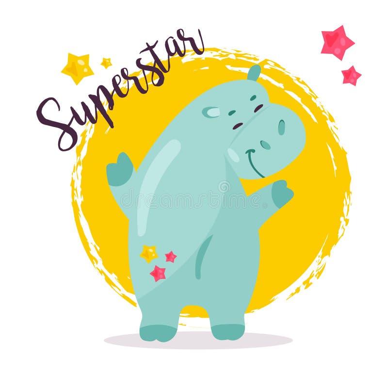 Imagem do vetor de um hipopótamo engraçado da estrela mundial ilustração do vetor