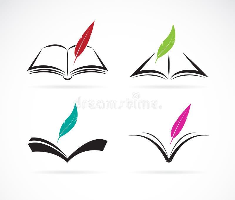 Imagem do vetor de um livro e de uma pena ilustração do vetor