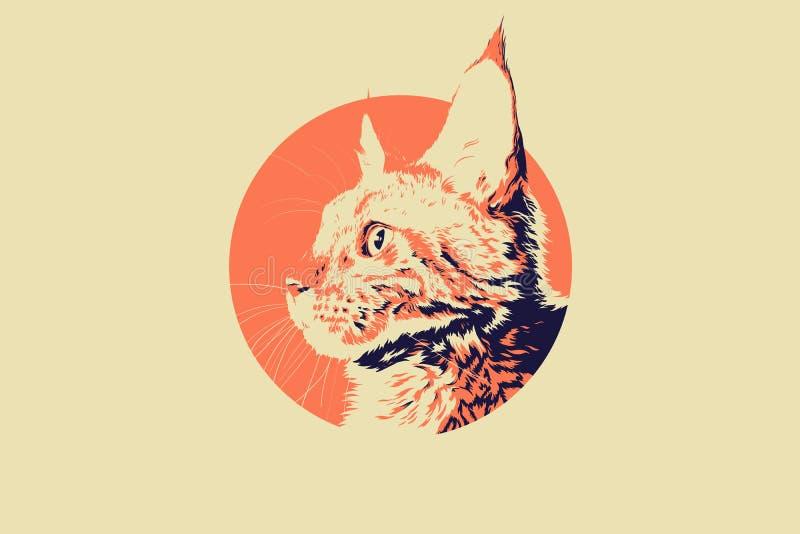 Imagem do vetor de um projeto da cara do gato no fundo branco Mão realística ilustração tirada pet ilustração do vetor