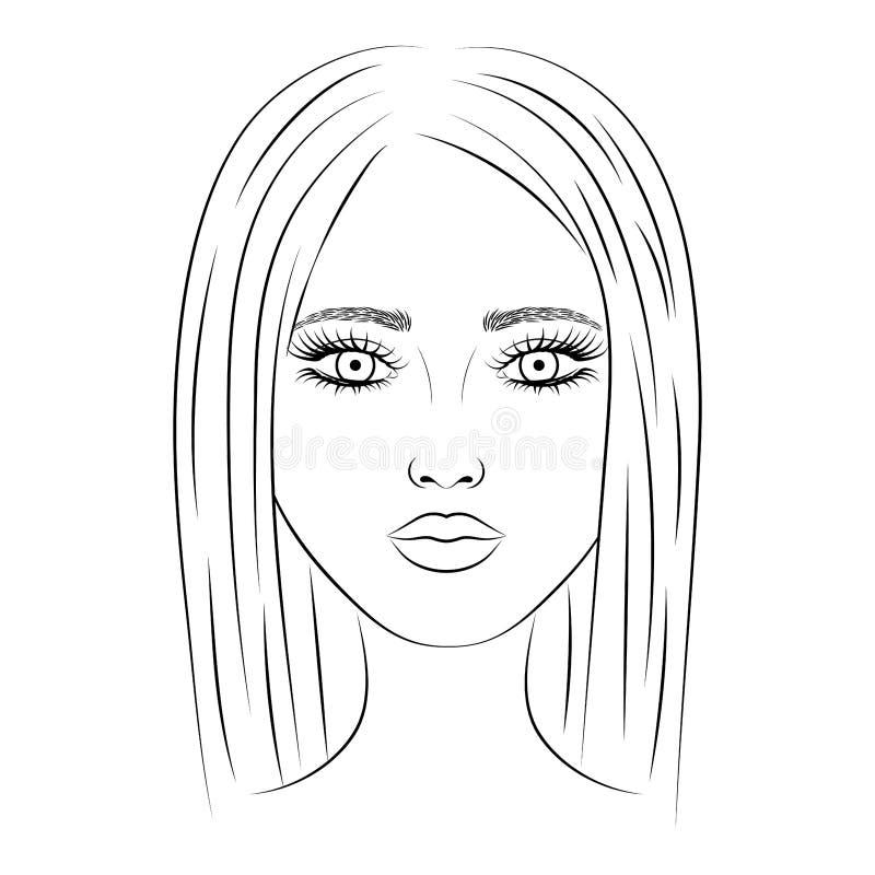 Imagem do vetor de um retrato de uma jovem mulher bonita ilustração do vetor