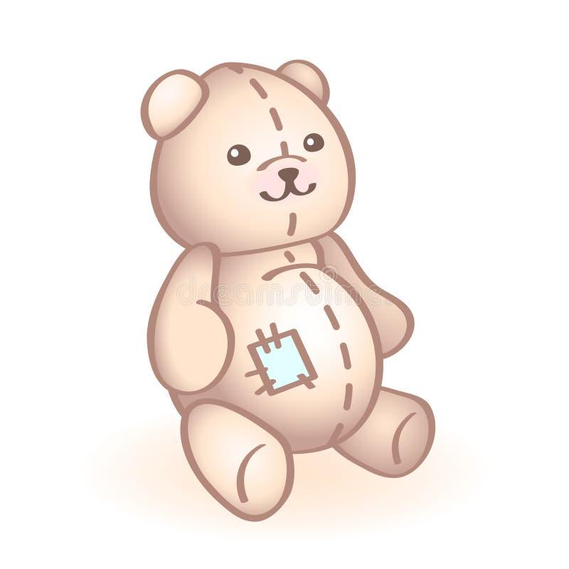 Imagem do vetor de um urso do luxuoso com remendo azul Brinquedo recém-nascido do bebê infante ilustração royalty free