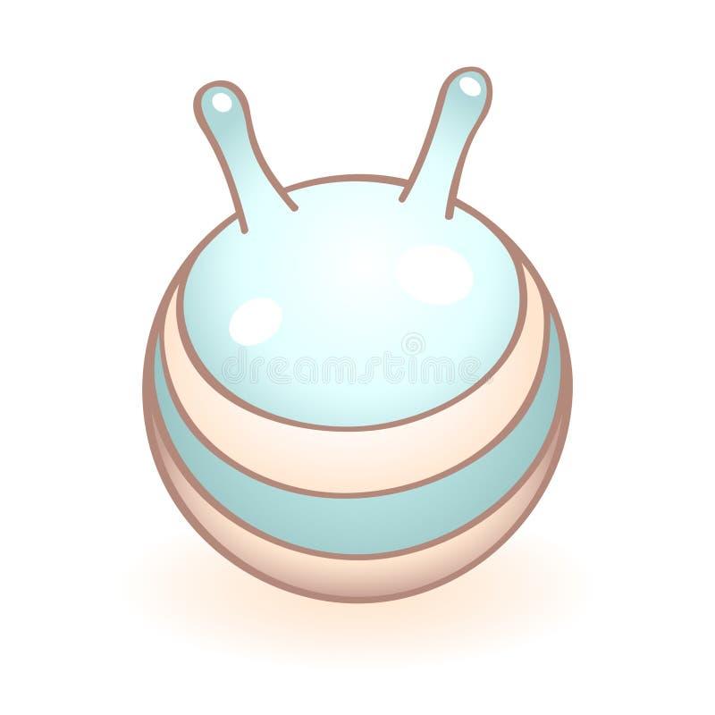 Imagem do vetor de uma bola azul para mulheres gravidas e o bebê recém-nascido com punhos Ícone infantil do vetor Artigo da crian ilustração royalty free