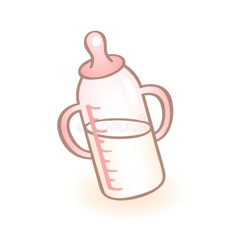 Imagem do vetor de uma garrafa de bebê recém-nascida com punhos e a chupeta cor-de-rosa Ícone infantil do vetor Artigo da criança ilustração do vetor